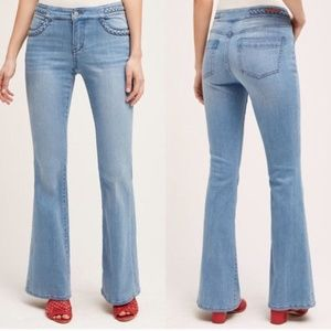 Anthropologie Pilcro Braided Mid-Rise Flare Jeans